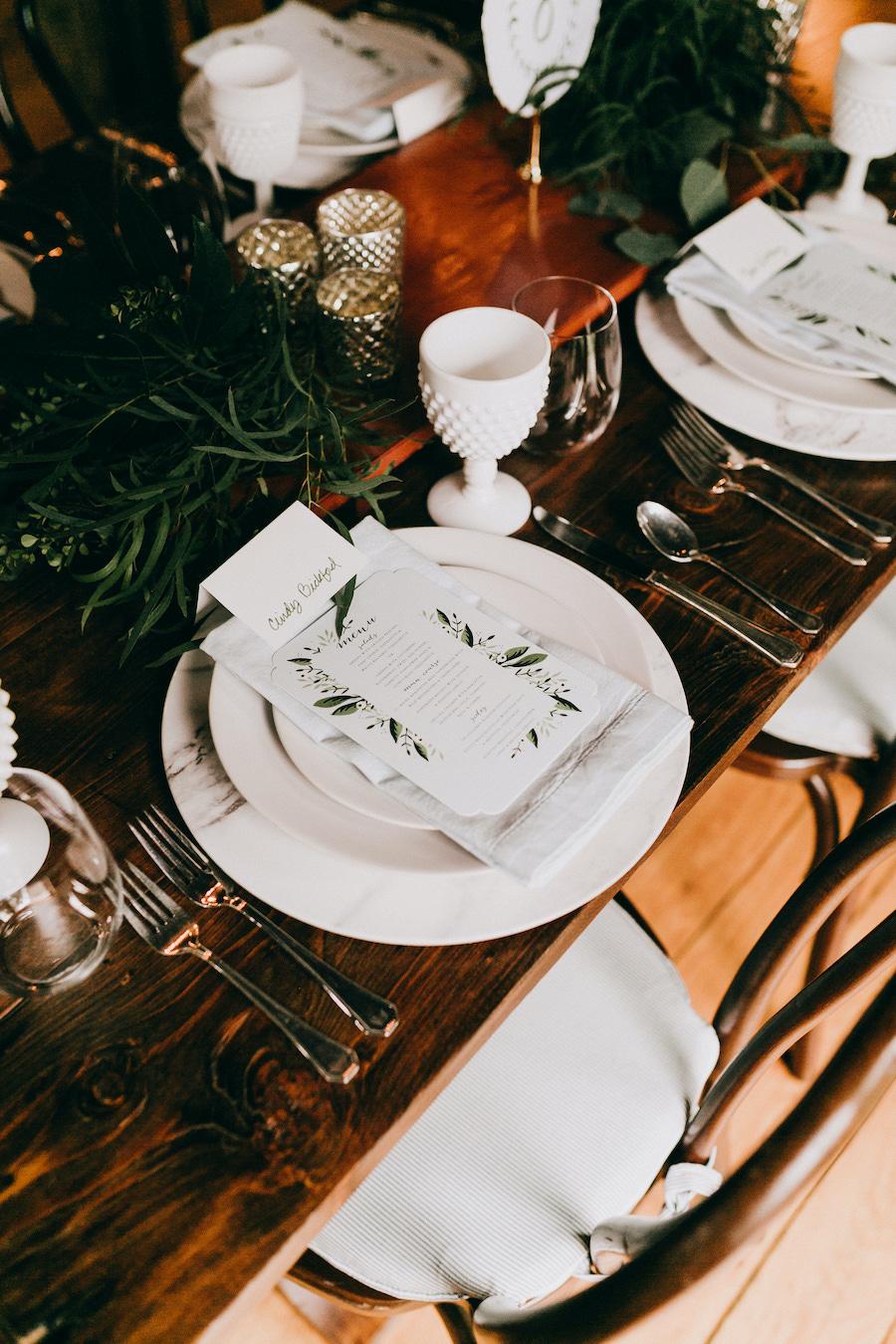 wedding food menu in barn