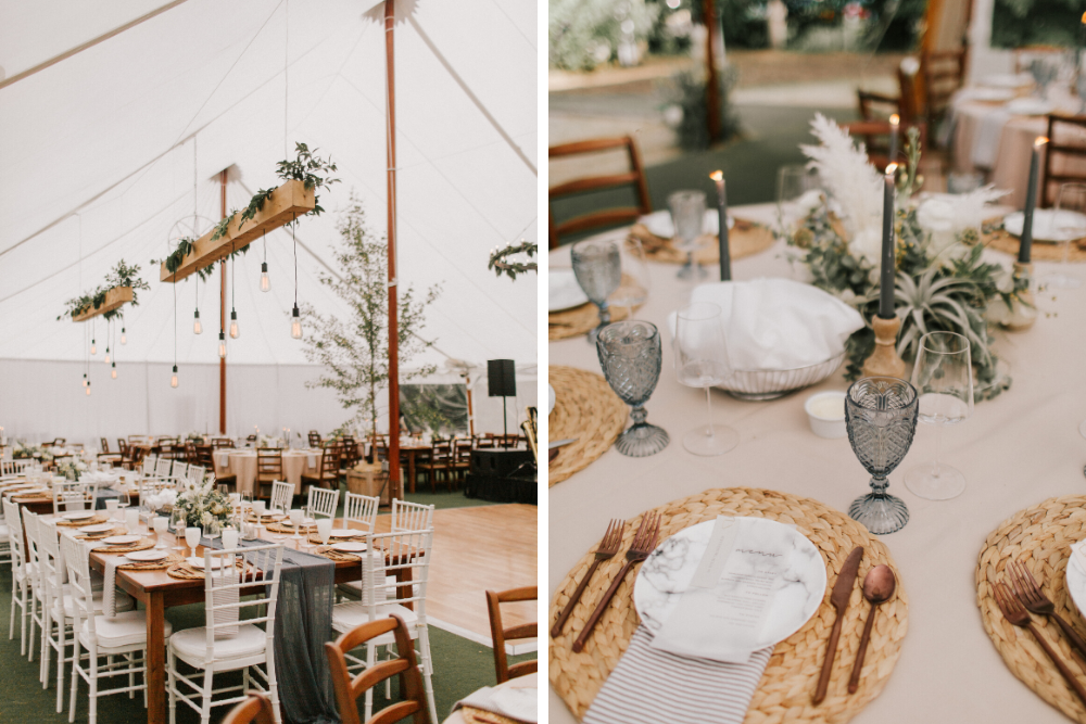 Boho tented wedding with farm tables and sage green decor.