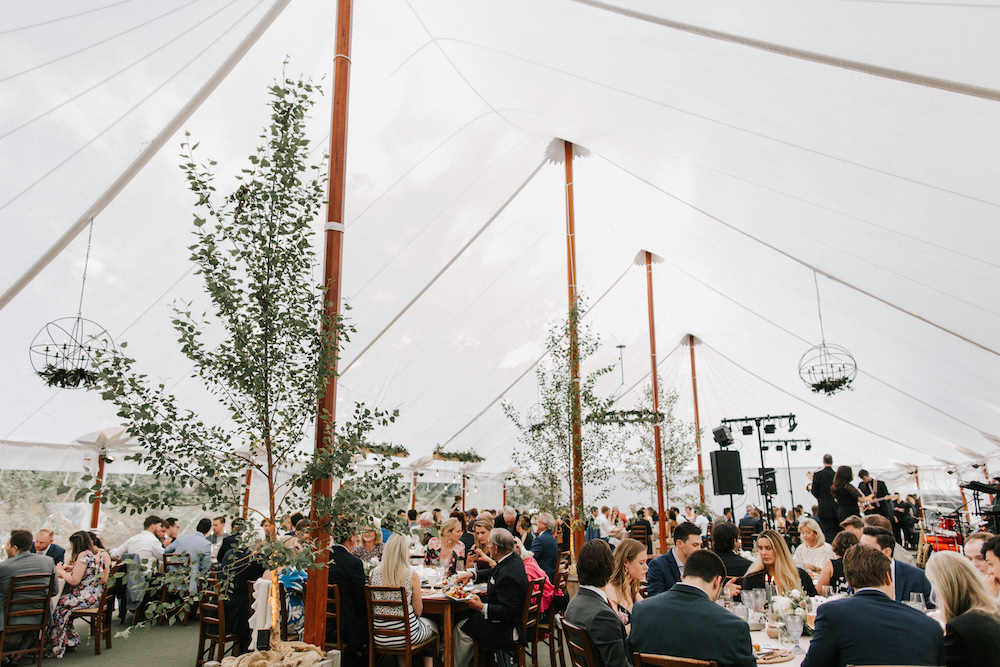 Sale cloth tented wedding reception with trees and custom lighting.