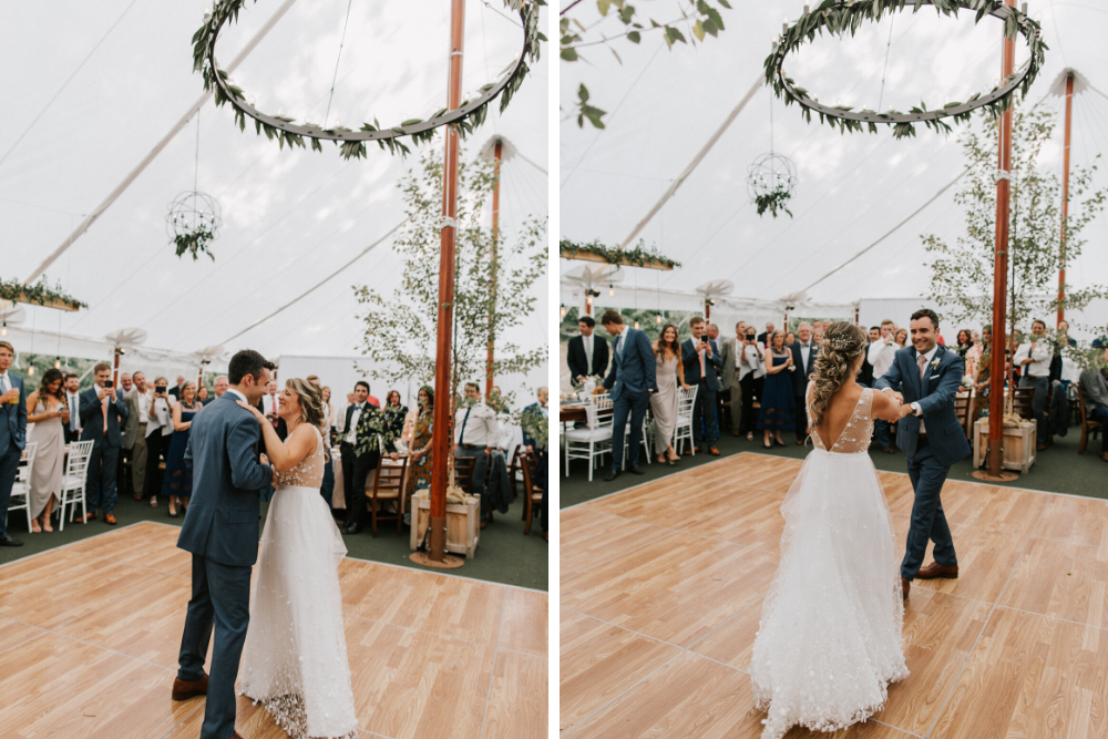 Bride and groom share first dance beneath tented reception.