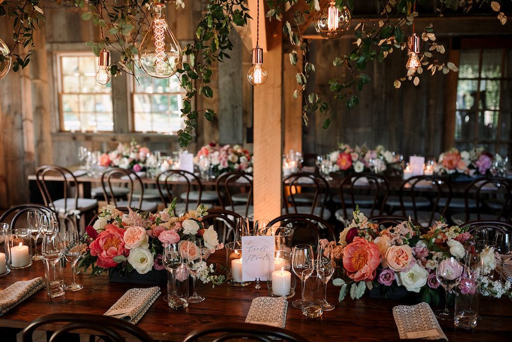 Blush and ivory details of intimate Maine wedding at the Barn at Primo.