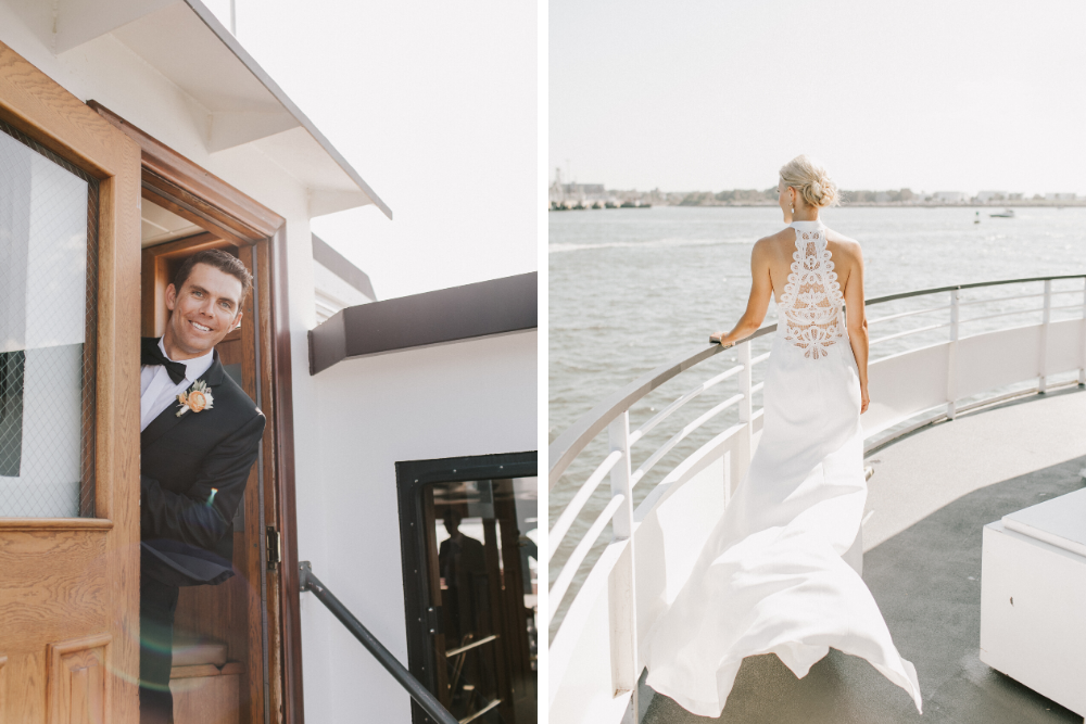Bride and groom aboard a ferry to House Island