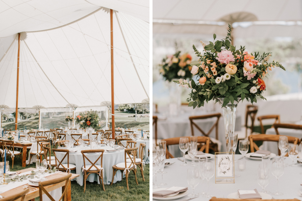 Tented reception in Casco Bay on House Island with pastel florals