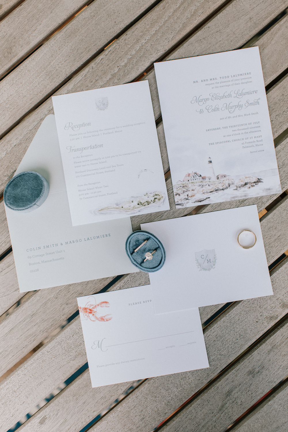 Custom wedding invitation suite with wedding rings and velvet box