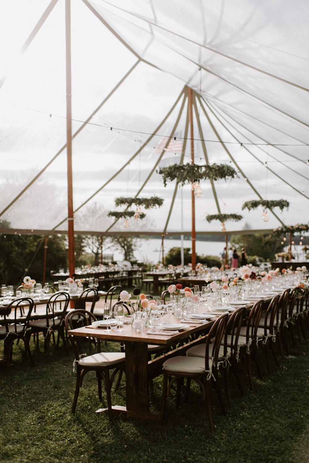 Tented wedding reception at Chebeague Island Inn