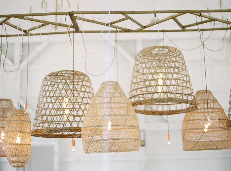 Close up shot of woven pendant lights mixed with hanging bulbs.