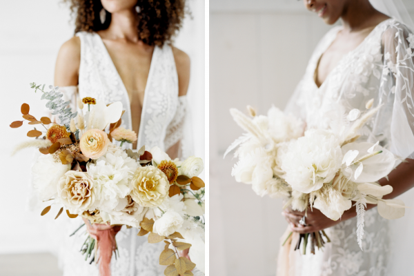 One bride holds loose floral bouquet while second bride holds all white floral bouquet.