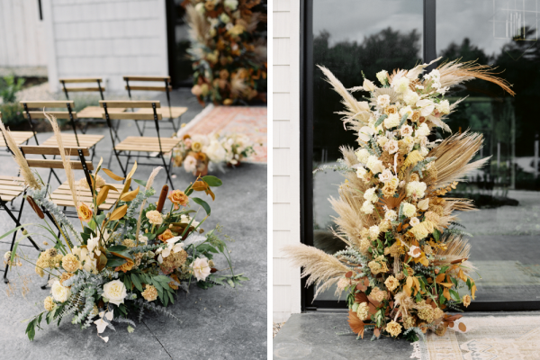 Side by side shot of floral details of ethereal wedding ceremony.