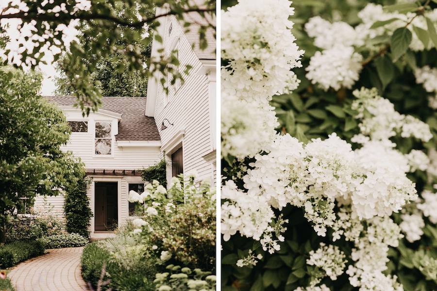 Powdery white florals and details of The Barn on Walnut Hill.