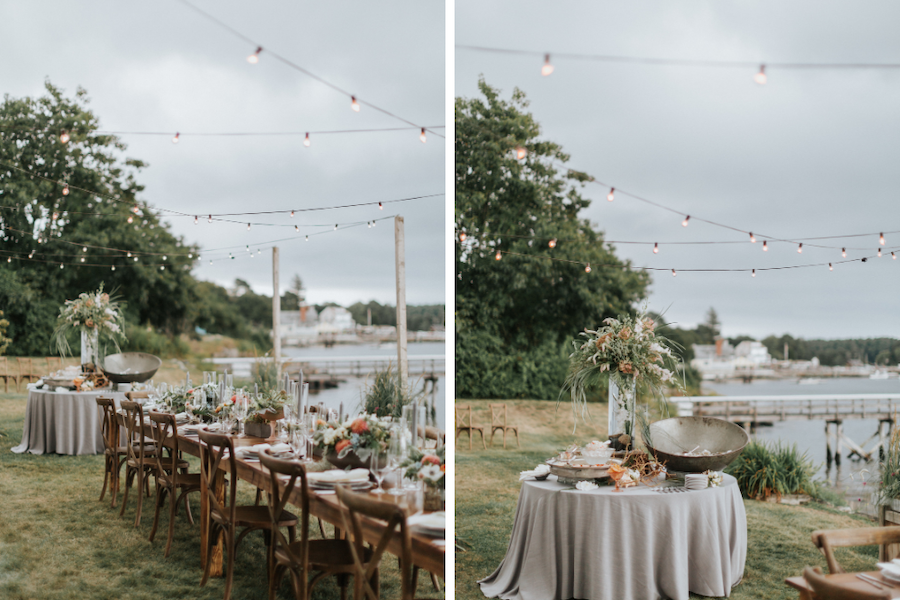 Intimate coastal reception setup with ocean in the backdrop.